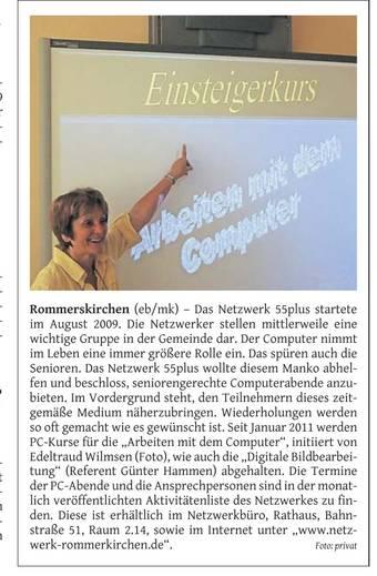 Rheinischen Anzeiger - Netzwerk Rommerskirchen 55+ - PC-Einsteigerkurs