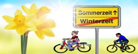 Schild mit Sommer- und Winterzeit
